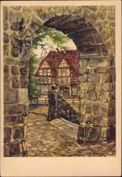 Künstler Ak Schewe, M., Quedlinburg im Harz, Blick auf das Klopstock Haus