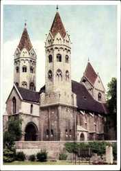 Postcard Freyburg an der Unstrut, Blick auf den Dom, Glockentürme, Denkmal