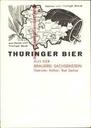 Landkarten Ak Bad Sachsa, Thüringer Bier, Brauerei Sachsenstein, Gebr. Kellner