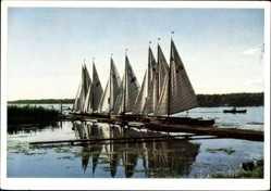 Ak Arendsee Altmark, Blick auf Segelboote am Steg, Seepartie