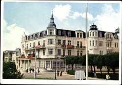 Postcard Ostseebad Zinnowitz, Ferienheim der IG Wismut Glück auf, Straße