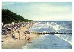 Postcard Koserow an der Ostsee, Strandpartie, Meer, Strandkörbe, Wellen