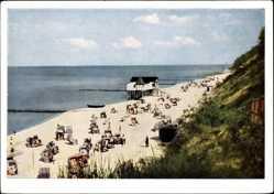 Postcard Koserow an der Ostsee, Strandpartie, Meer, Strandkörbe, Deich