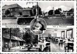 Postcard Bad Bramstedt im Kreis Segeberg, Markt mit Roland, Speisesaal, Kurhaus
