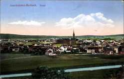 Postcard Burbach Saarbrücken im Saarland, Totalansicht der Ortschaft, Fluss, Kirche