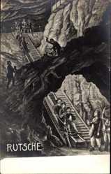 Künstler Ak Bergwerk, Rutsche, Bergleute, Kohleabbau unter Tage