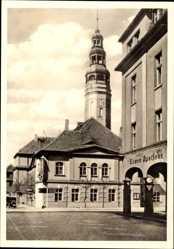Postcard Grünberg Hessen, Rathaus, Markt, Löwenapotheke