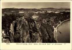 Ak Kurort Rathen im Elbsandsteingebirge, Blick von der Bastei, Hahn 3231