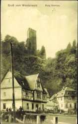 Postcard Höhr Grenzhausen im Westerwaldkreis, Blick zur Burg Grenzau, Restaurant