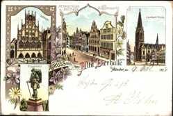 Litho Münster in Westfalen, Altdeutsche Bierhalle, Lamberti Kirche, Kiepenkähl
