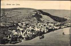 Postcard Lütz Rheinland Pfalz, Gesamtansicht, Kirche, Berge, Felder