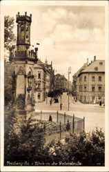 Postcard Freiberg im Kreis Mittelsachsen, Blick in die Peterstraße, Denkmal