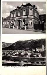 Postcard Dieblich an der Mosel, Gasthaus Moselgruß, L. Höfer, Blick auf den Ort