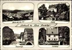 Postcard Aschach Bad Bocklet, Blick auf den Ort, Schloss, Dorfstraße, Schlosshof