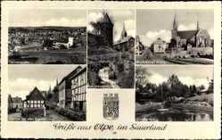Wappen Ak Olpe in Nordrhein Westfalen, Am Hexenturm, Kurkölner Platz, Stadtpark