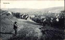 Postcard Brotterode Trusetal in Thüringen, Blick auf den Ort, Feld, Kirche