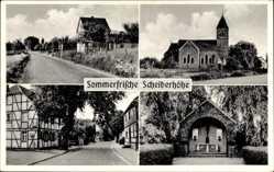 Postcard Scheiderhöhe Lohmar, Kirche, Kaufhaus H. Faßbender, Straße
