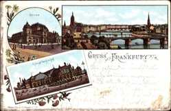 Litho Frankfurt am Main, Hauptbahnhof, Straßenseite, Brücke, Börse