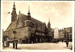 Postcard Brzeg Brieg Schlesien, Marktplatz, Rathaus, Ratusz
