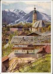 Künstler Ak Brauneck Lenggries im Kreis Bad Tölz Wolfratshausen, Ort, Berge