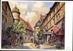 Künstler Ak Freytag, Kronach Frankenwald, Partie im Schlosshof