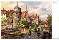 Künstler Ak Freytag, Kronach, Marienplatz, Partie an der Stadtmauer