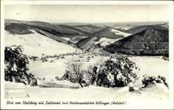 Postcard Willingen Upland in Hessen, Blick vom Ettelsberg auf den Ort, Winter
