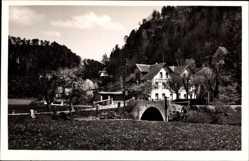 Postcard Behringersmühle Fränkische Schweiz, Blick auf Hotel Stern, Brücke