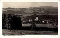 Postcard St. Märgen Bad. Schwarzwald, Blick auf die Ortschaft mit dem Feldberg