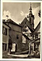 Postcard Creglingen Tauber, Aufgang zur Stadtkirche, Fritz Bach, Schneidermeister