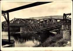 Postcard Bingen am Rhein, Blick auf die zerstörte Eisenbahnbrücke über die Nahe