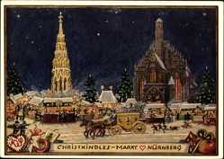 Künstler Ak Nürnberg in Mittelfranken Bayern, Blick auf den Christkindles Markt