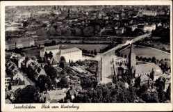 Postcard Saarbrücken im Saarland, Blick auf den Ort vom Winterberg aus