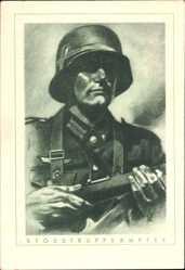 Künstler Ak Stoßtruppkämpfer, Wehrmachtsoldat, Gewehr, Helm