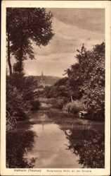 Postcard Hofheim im Taunus, Motiv an der Brücke, Kirchturm
