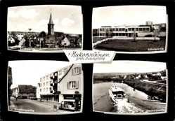 Postcard Neckarweihingen Ludwigsburg in Baden Württemberg, Schulpartie, Kirche, Neckar