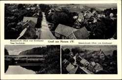 Postcard Mesum Rheine Nordrhein Westfalen, Rheinerstraße, Neue Emsbrücke,Bahnhofstraße