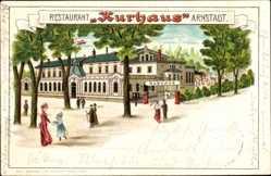 Litho Arnstadt im Ilm Kreis Thüringen, Restaurant Kurhaus, Besucher