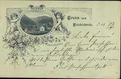 Vorläufer Litho Friedrichroda im Thüringer Wald, Ort, Engel, Kitsch, 1891