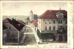 Postcard Eisfeld in Thüringen, Marktstraße, Rathaus, Kirche