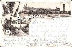 Litho Eisfeld in Thüringen, Markt, Schloss, Siegesdenkmal, Aussichtsturm