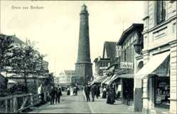 Postcard Insel Borkum im Kreis Leer, Partie am Leuchtturm, Zahnarzt