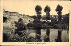 Postcard Obermassfeld Grimmenthal, Flusspartie mit Werrabrücke