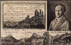 Postcard Bornhagen in Thüringen, Goethe, Burgruine Hanstein, Ludwigsturm