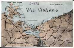 Landkarten Ak Pommern, Ostsee, Pommersche Bucht, Misdroy