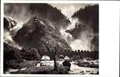 Postcard Hardanger Norwegen, Blick auf Latefossen, Wasserfall