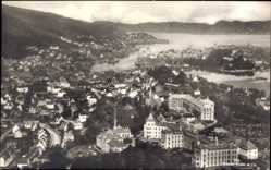 Postcard Bergen Norwegen, Fliegeraufnahme der Stadt, Gebäude