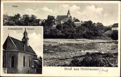 Postcard Holzhausen an der Haide, Totalansicht der Ortschaft, Evang. Kirche