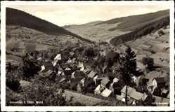 Postcard Gießübel Schleusegrund Thüringen, Totalansicht der Ortschaft, Felder