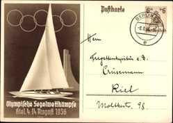 Ganzsachen Ak Olympische Segelwettkämpfe, Kiel, 4 bis 14 August 1936